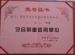守合同重信用单位(漳州市)